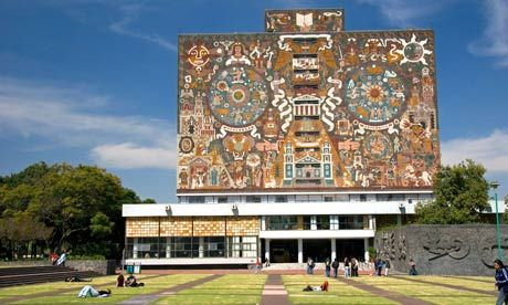 Nationale Universiteitsbibliotheek Mexico Stad. http://nl.wikipedia.org/wiki/Nationale_Autonome_Universiteit_van_Mexico