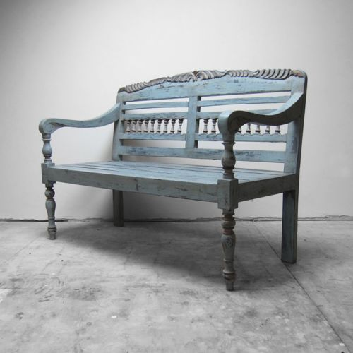 Victorian Antique Old Bench Seat Painted Blue Distressed Hall Kitchen Seating Old Benches Kitchen Seating Seating