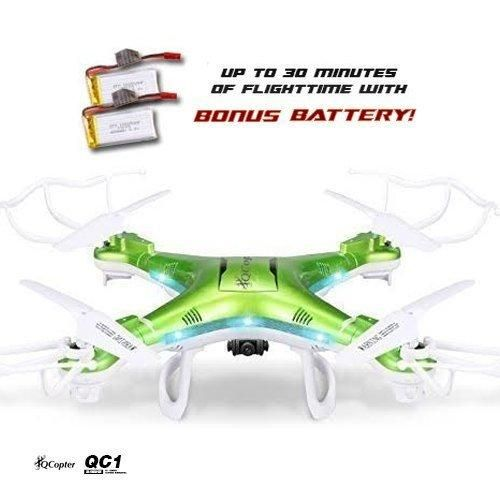 QCopter QC1 Quadcopter Drones with HD Camera LED Lights Green Drone BONUS BATTERY 2X FlightTime