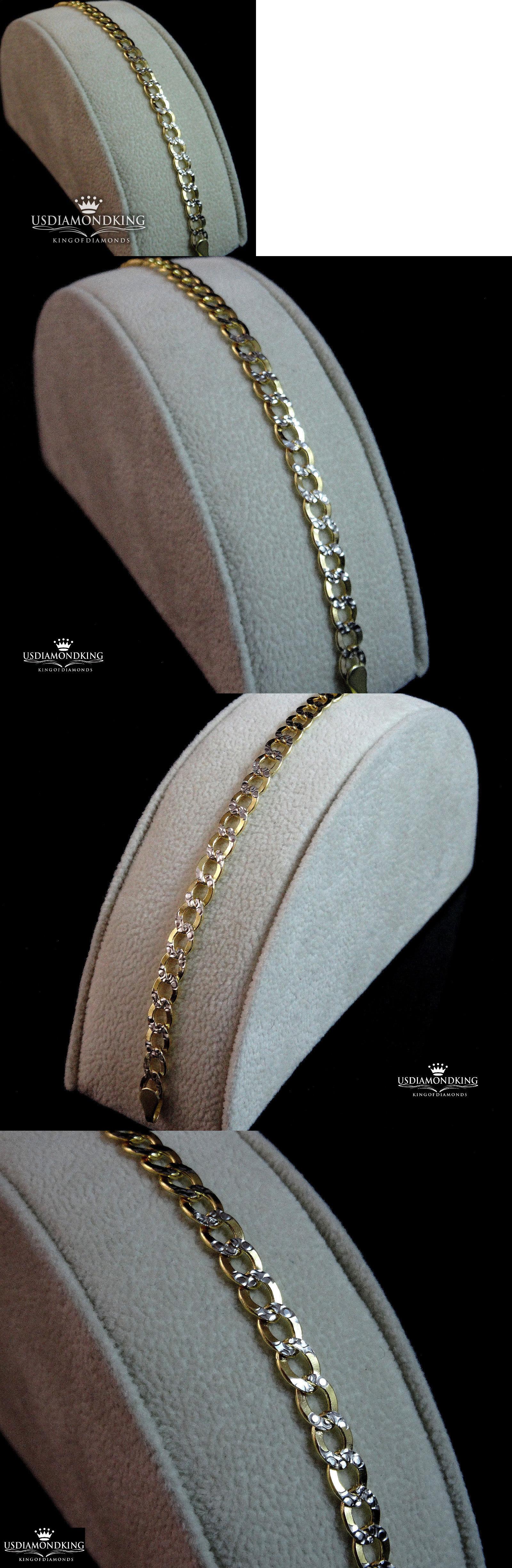 Bracelets unisex k marked solid yellow gold tone cuban