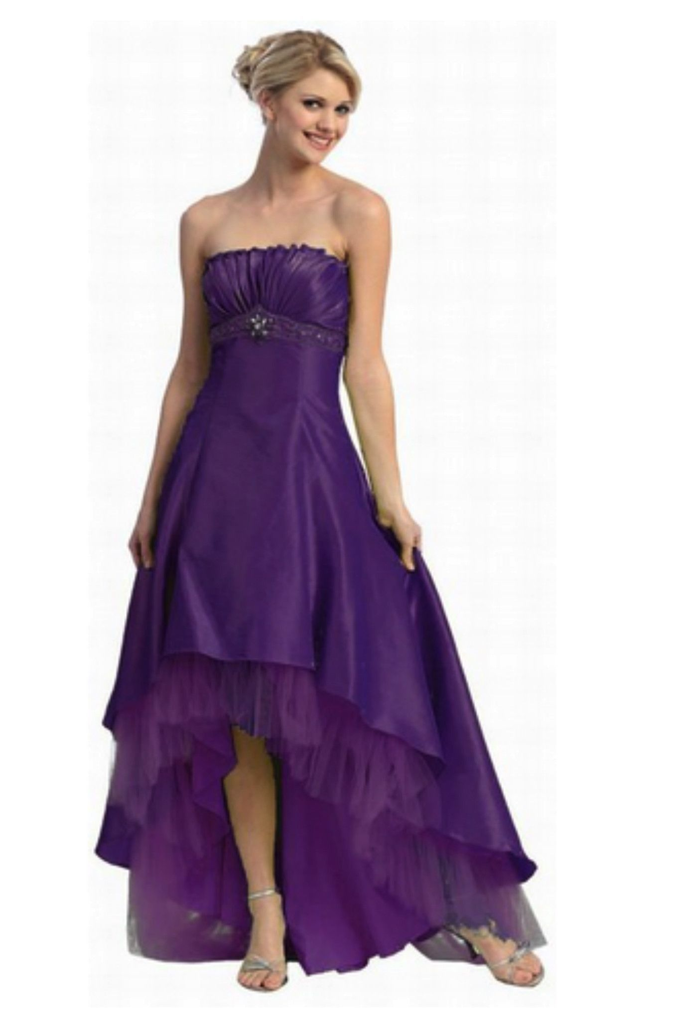 Gorgeous Sexy Long Strapless Purple High Low Prom Dress | Products ...