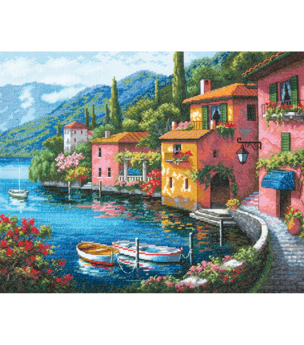 "Gold Collection Lakeside Village Counted Cross Stitch Kit-15""X12"" 16 Count at Joann.com  love, love the colors"