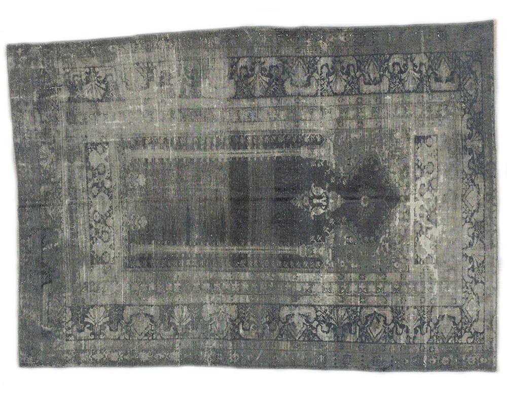 Vintage Artificial Silk Gray Overdyed Turkish Rug Persian Texture Bohemian Decor Area Hallway Tk30928