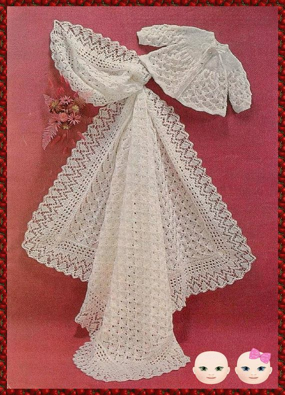 Instant Digital Download PDF Vintage Knitting Pattern to make Baby a Pretty Lacy Coat or Jacket Chest 17-19″ & Beautiful Lacy Shawl or Wrap