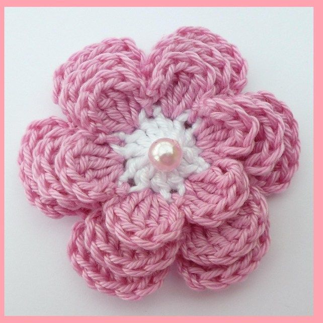 1 Large Coral 3 Layer Crochet Flower Crocheting Ideas Pinterest