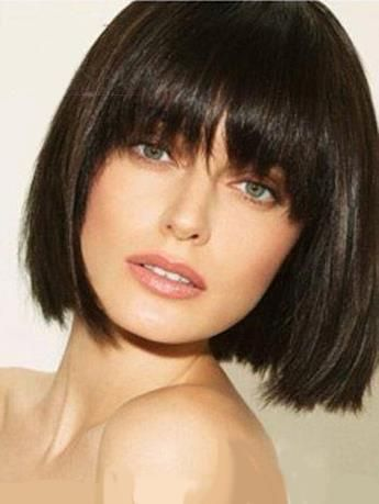 Beautiful Smooth Short Straight Bob Wig 100 Human Hair With Full Bangs 10 Inches