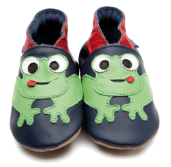 Frog Navy/Red Leather Baby Shoes