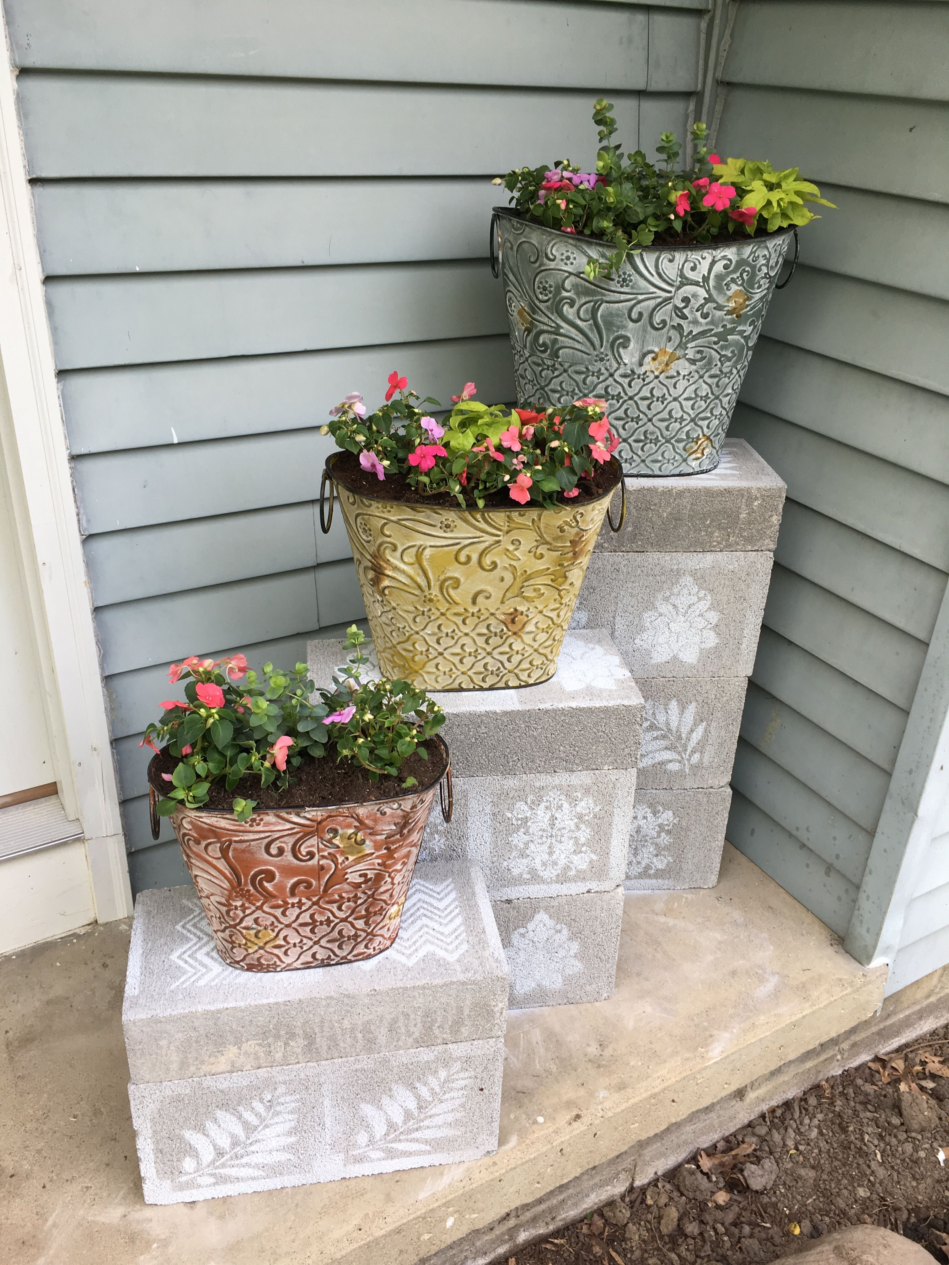 Painted Cinder Block Plant Stand