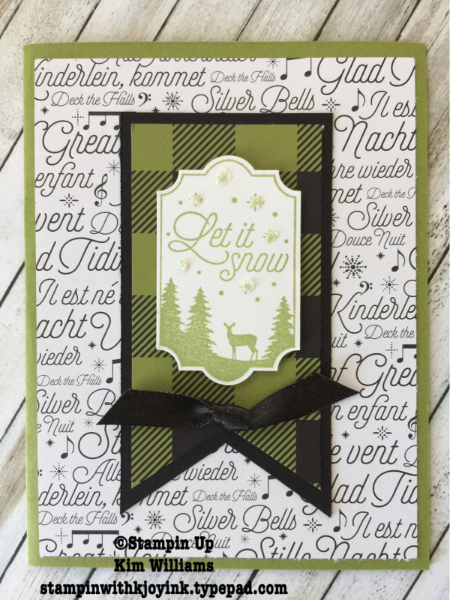 Stampin Up Merry Little Labels bundle and Everyday Label Punch. Kim Williams, Stampin with Kjoyink, Pink Pineapple Paper Crafts. Masculine themed Christmas card. Christmas card ideas for everyone. Merry Music background paper. On my blog today from the Stampin Up Holiday Catalog