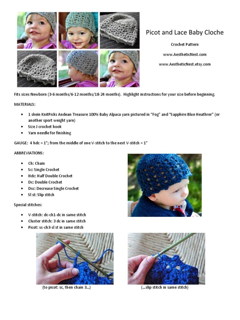 Crochet pattern for a baby cloche/hat with picots and lace. Sizes ...