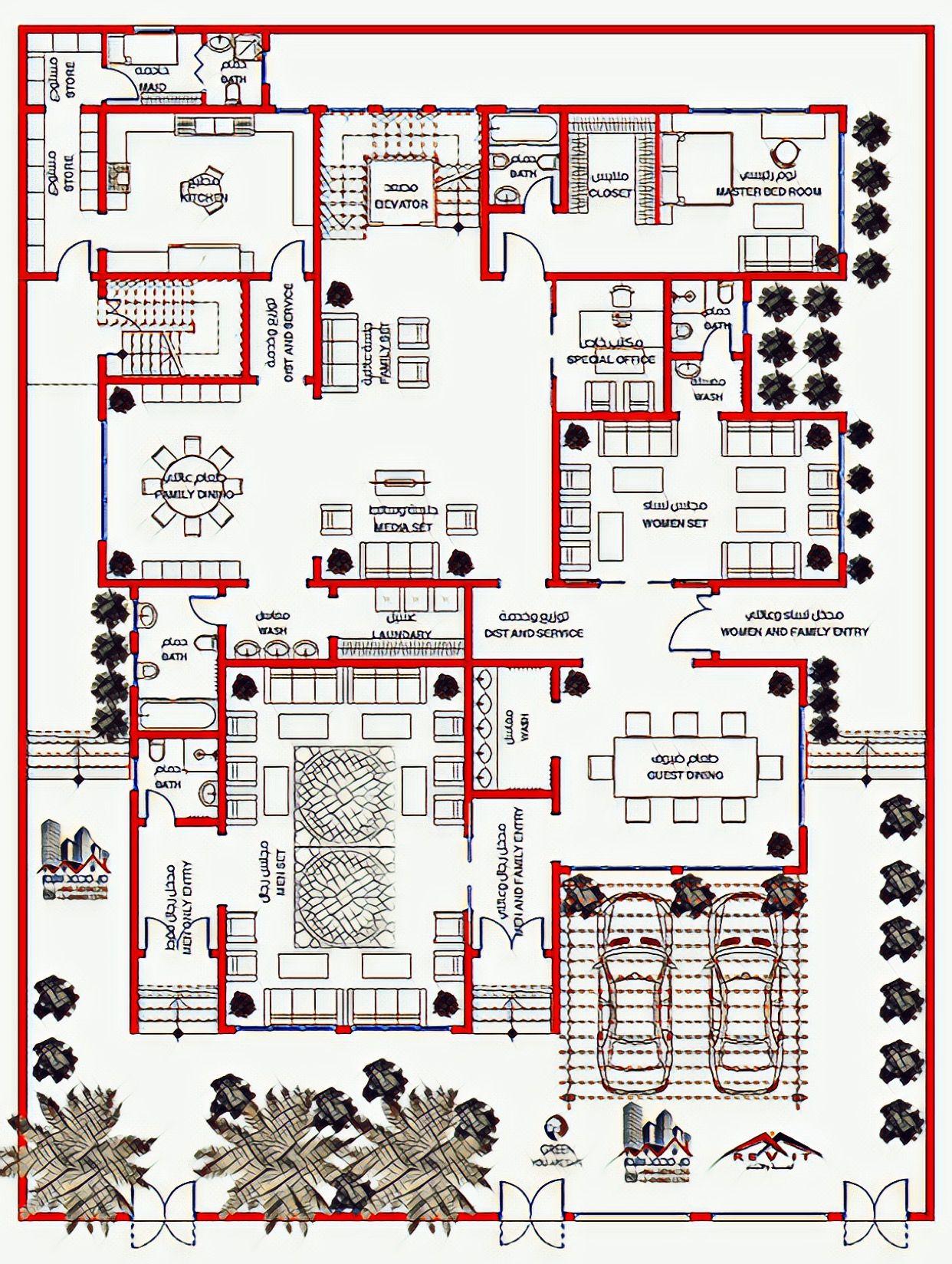 Design Bill مخطط فيلا مودرن Duplex House Plans Luxury House Plans House Layout Plans