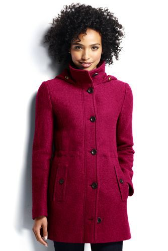 Women's Boiled Wool Hooded Parka from Lands' End | Stitch fix ...