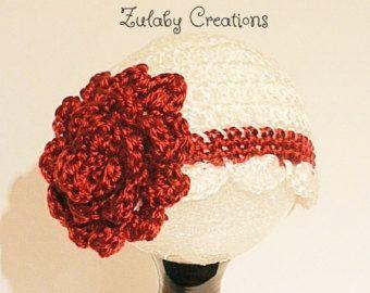Crochet Baby Hat, Baby Girl Hat, Newborn Beanie, Baby Newborn Hat, Beanie, White, Crimson, Baby Beanie, Newborn Baby Hat - Item # CBH0011F