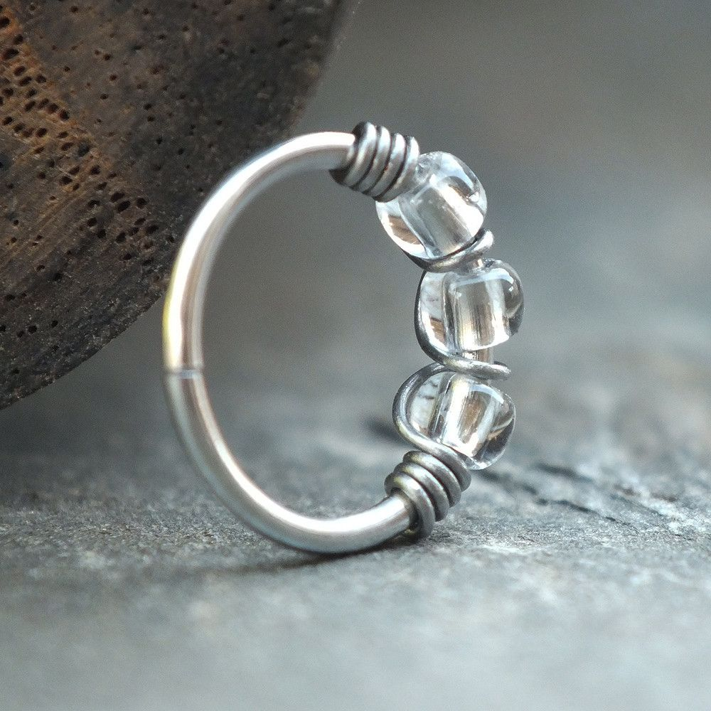 Nose piercing earrings  Raindrop Beaded Nose Ring Hoop from Caterpillar Arts nosering