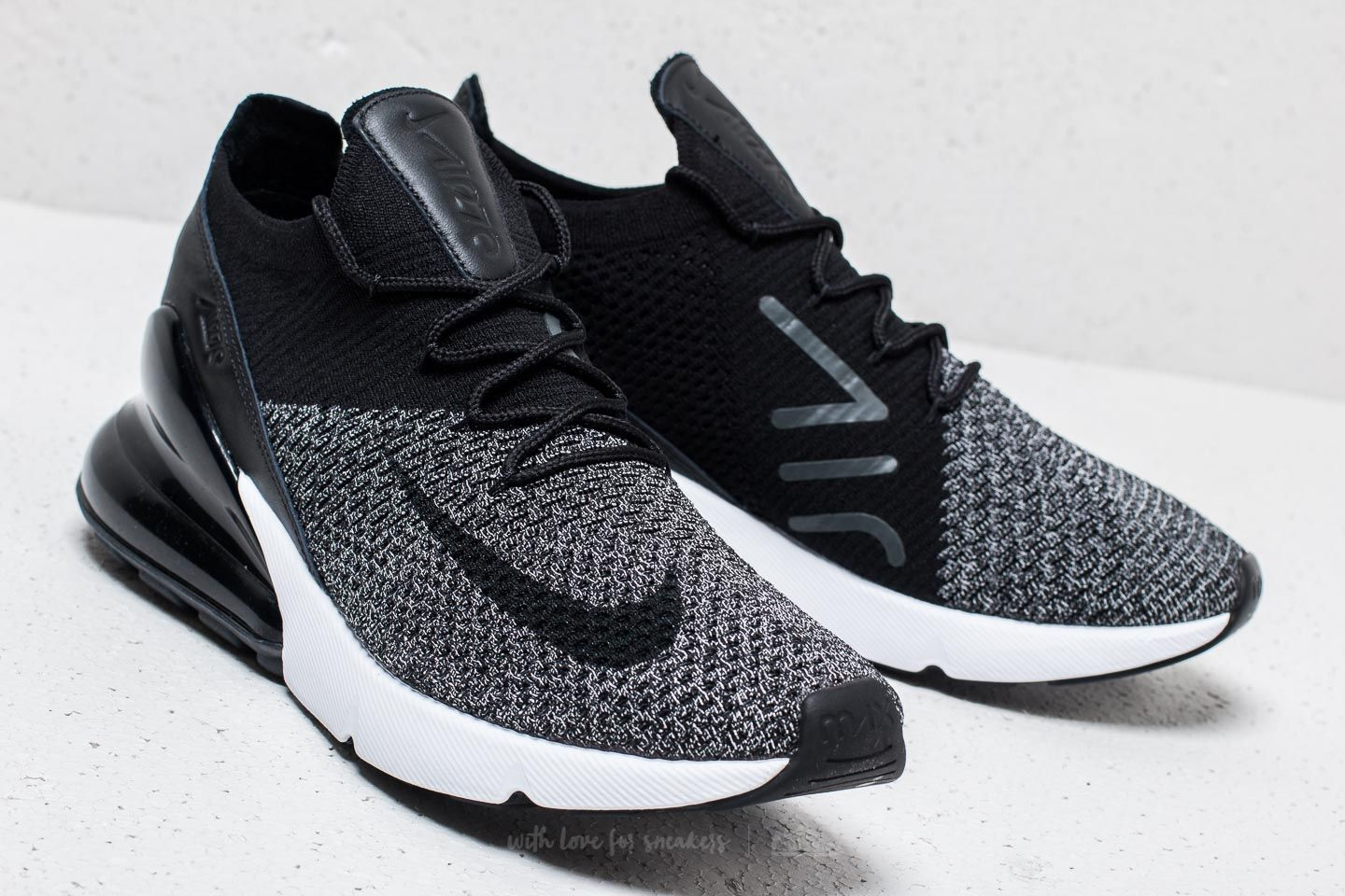 1955bc9e29ae Nike Air Max 270 Flyknit Black  Black-White in 2019