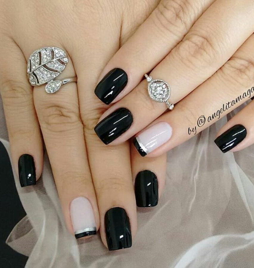 58 Cute And Elegant Acrylic Black Nails Design Ideas For Short Nails Black Nail Designs Pink Nails Trendy Nail Art