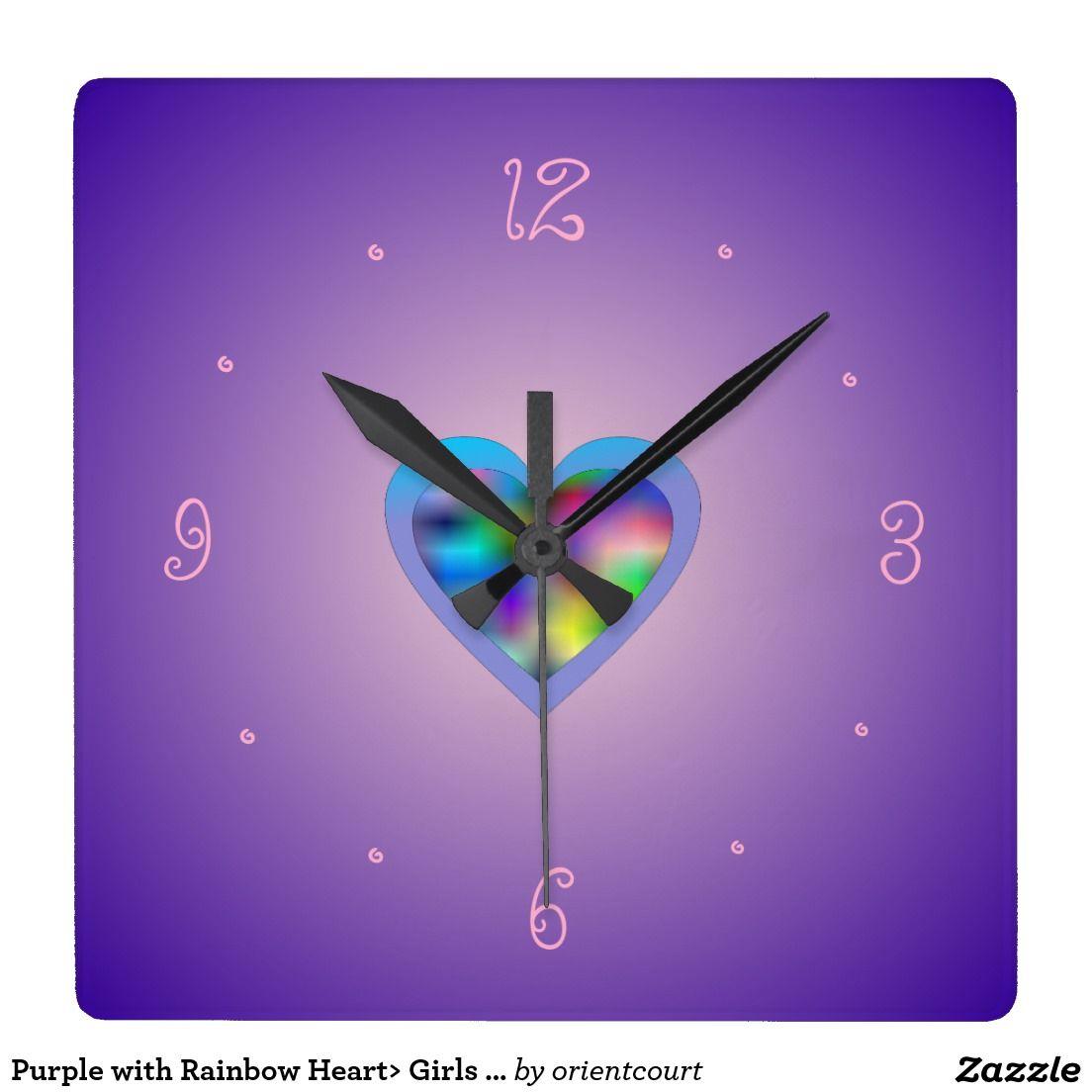 Purple with rainbow heart girls wall clocks teenage girls purple with rainbow heart girls wall clocks amipublicfo Choice Image