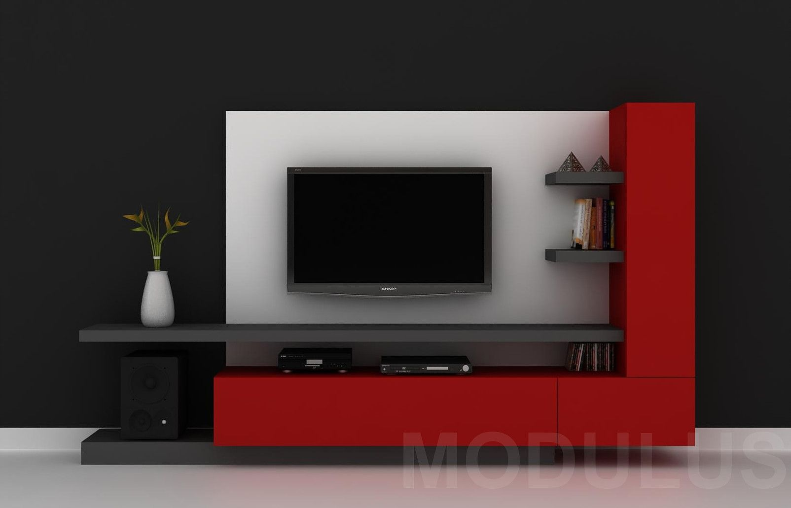 Modulares para living tv lcd led wall unit muebles for Adornos para muebles modernos