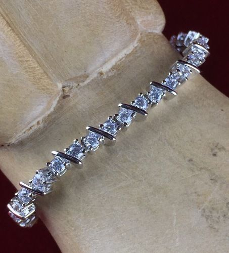 Exotic 4 ctw   Zircon in exotic surgical steel and platinum  Tennis Bracelet JMA160/RH|We combine shipping|No Question Refunds|Bid over $60 for free shipping. Starting at $1
