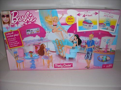 Barbie Party Cruise Ship Exclusive Playset by Barbie. $135.00. !  SLIDE & POOL!!  FOOD BUFFET & DINING AREA!!  CABIN WITH BED!!  DANCE FLOOR!!  30+ PIECES!!  OPENS TO 4+ FEET!!  SLIDE FLIPS DOWN.. PARTY TIME... DOLLS NOT INCLUDED