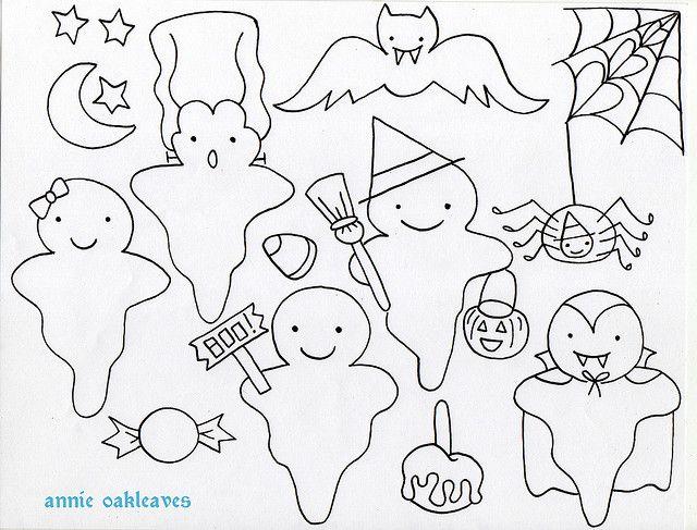 free ghosties | My fingers hurt | Halloween, Manualidades halloween ...