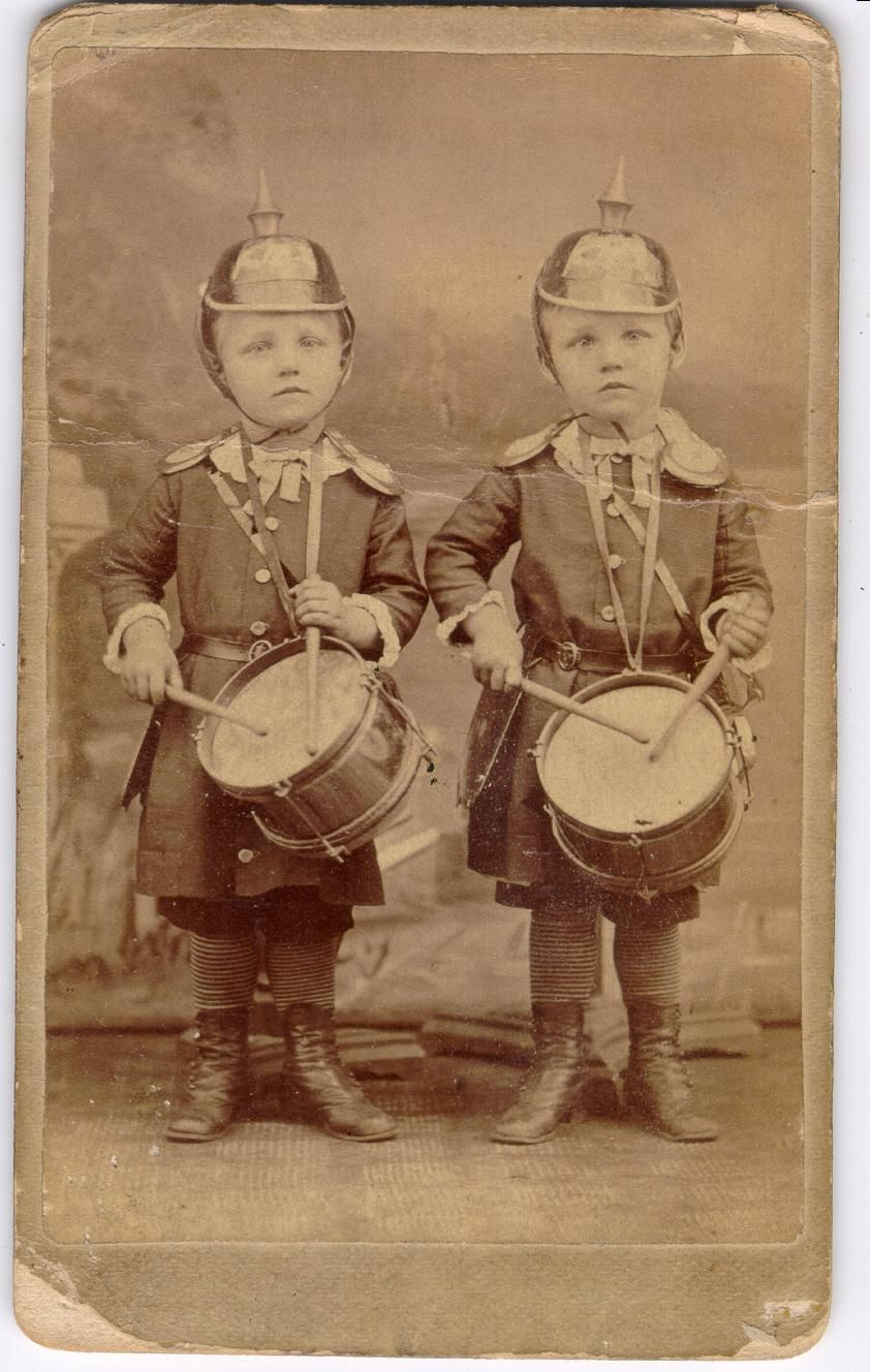 Little drummer boys in German military uniform