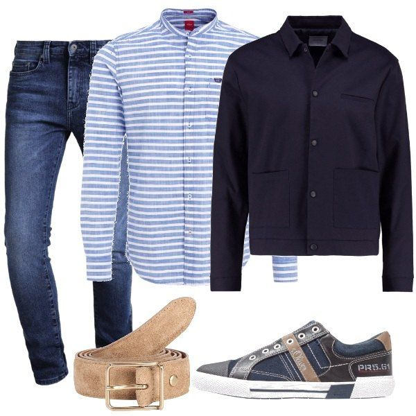 Camicia a righe azzurra e bianca con colletto alla coreana, jeans blu scuro  slim fit