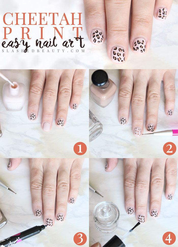 Easy Cheetah Print Nail Art Tutorial Slashed Beauty Cheetah Print Nails Nail Art At Home Nail Art Tutorial