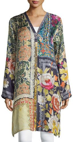ebc1e1436a7 Shiro Printed Button-Front Silk Tunic Multi Petite | Products | Silk ...