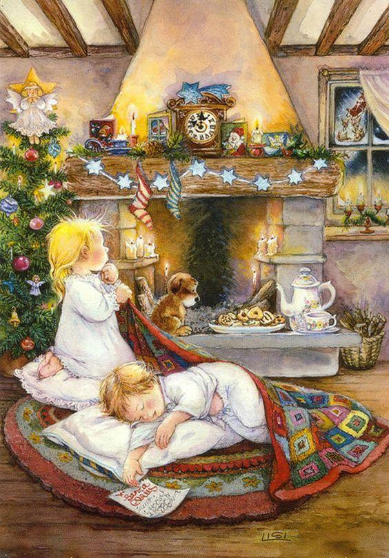 Рисованные открытки с рождеством
