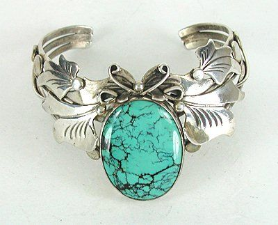 Vintage Sterling Silver and turquoise sweater Bracelet