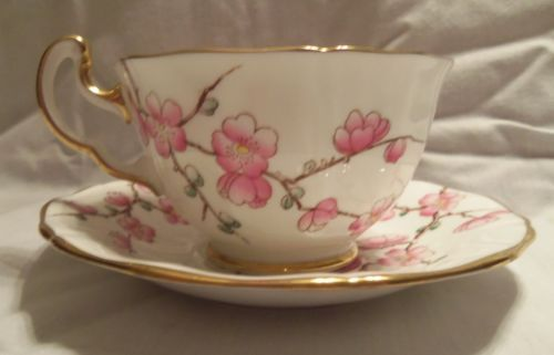 New to my collection: Adderley, English bone china, white with pink flowers
