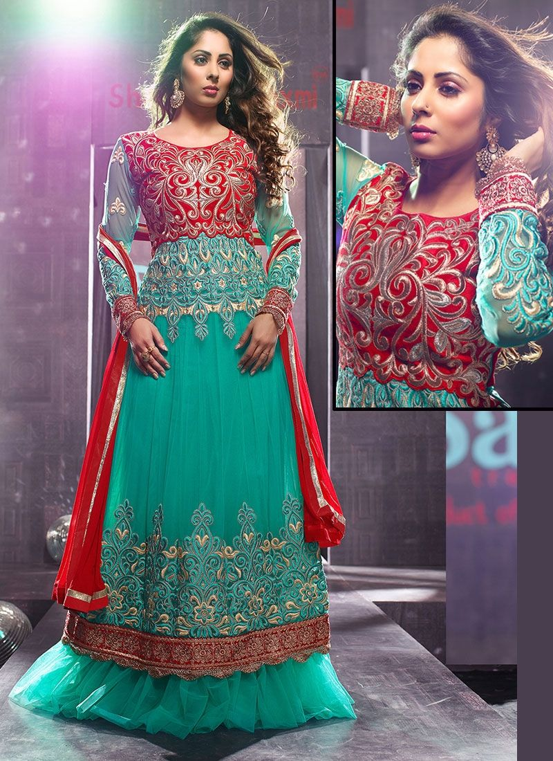 Alluring Turquoise Embroidery And Zari Work Net Designer Anarkali