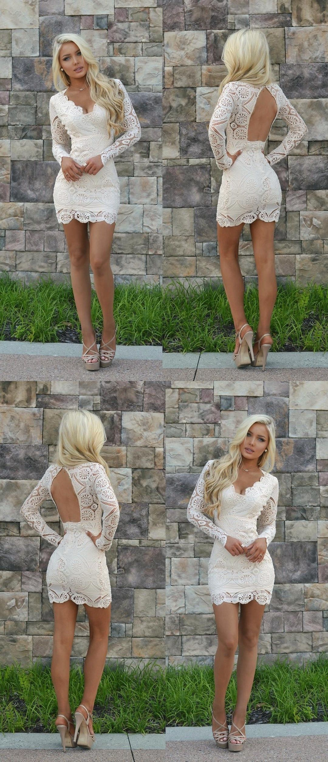 dd52612732 Sheath V-Neck Open Back Long Sleeves White Lace Homecoming Dress