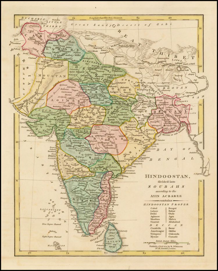Hindoostan divided into Soubahs according to Ayin Acbaree . . . - Barry Lawrence Ruderman Antique Maps Inc.