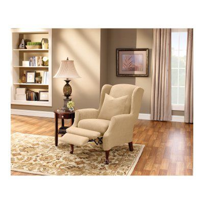 Sure Fit Stretch Pique Wing Chair Recliner Slipcover   37310 | Products,  Cream And Wings