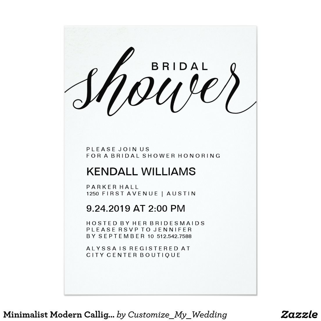 Minimalist Modern Calligraphy Bridal Shower Invitation | Stuff SOLD ...