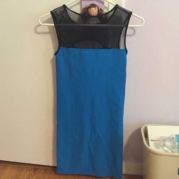 Tight blue Bebe dress Size small. Hugs your body! Super cute with sheer at the top. bebe Dresses Mini