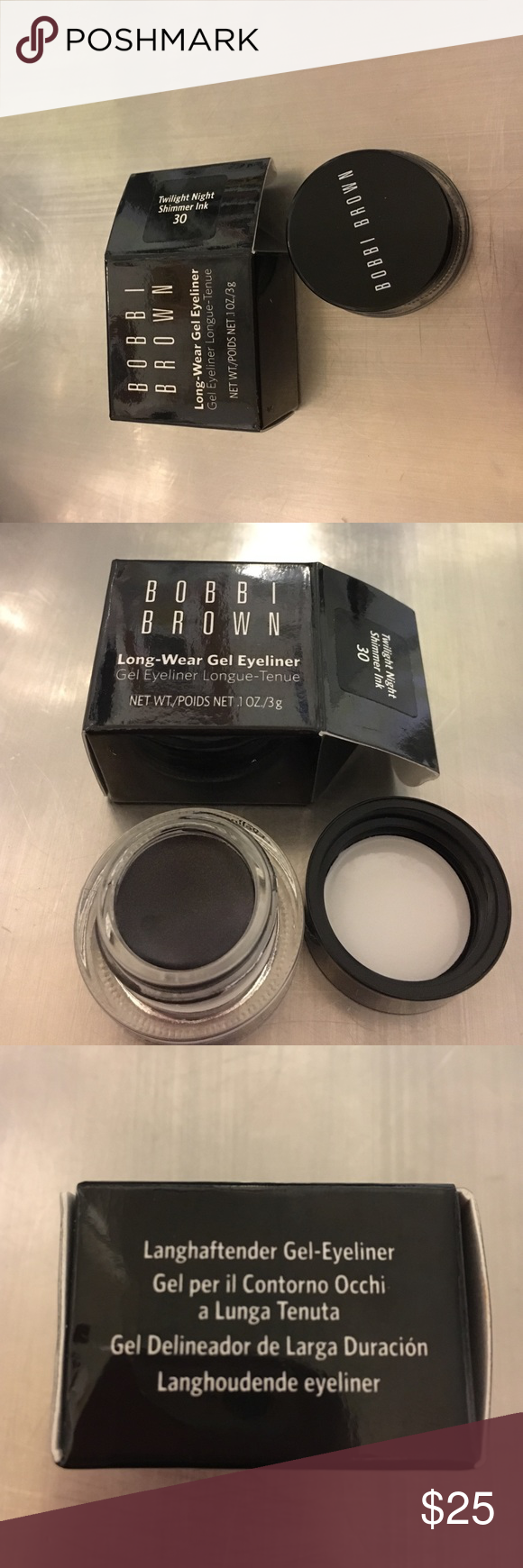 Bobby Brown long wear gel eyeliner Bobby Brown long wear gel eyeliner net weight /poids .1 ounce 3g.... twilight night shimmer ink 30 new never used box open to take pictures ....item comes as shown in picture with original boxing Bobbi Brown Makeup Eyeliner