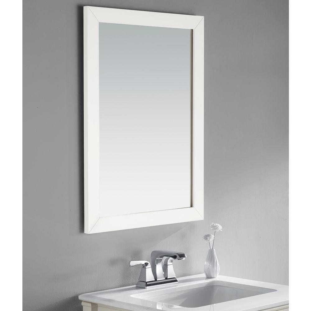 Simpli Home Chelsea 30 in. L x 22 in. W Wall Mirror in White Lacquer ...