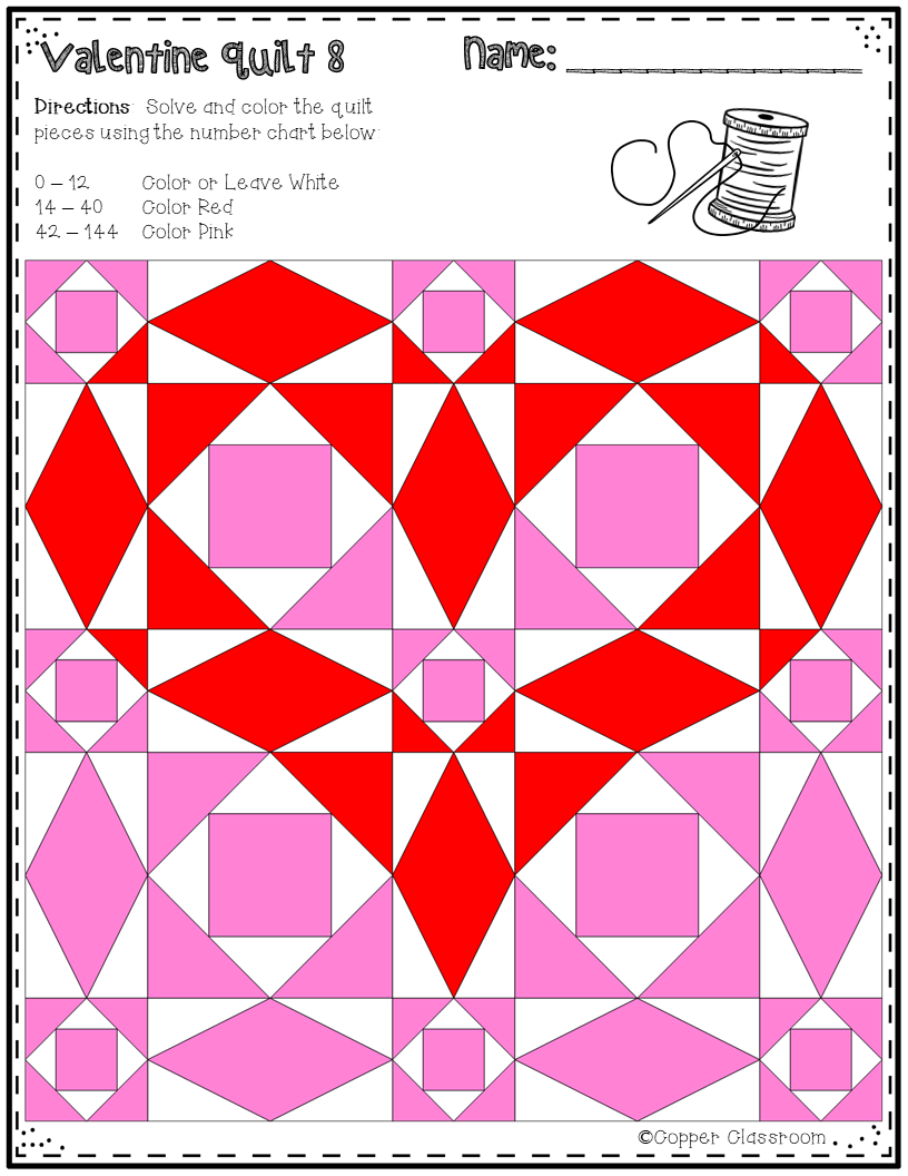 This Set Of Printables Includes 10 Math Quilts With A Valentine S Day Theme These No Prep Color By Code Workshe Quilts Heart Quilt Pattern Barn Quilt Patterns [ 1056 x 816 Pixel ]