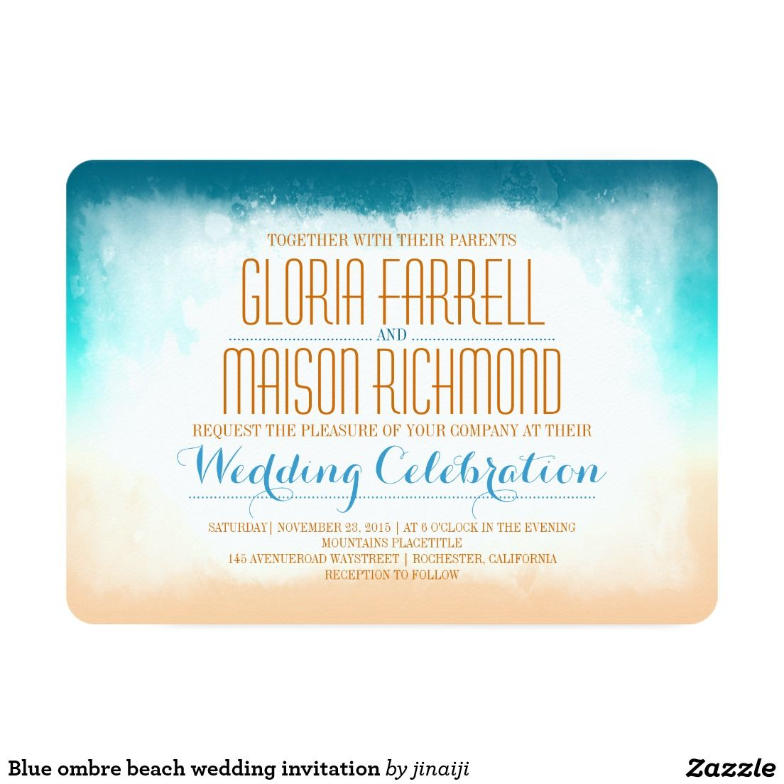 Blue ombre beach wedding invitation
