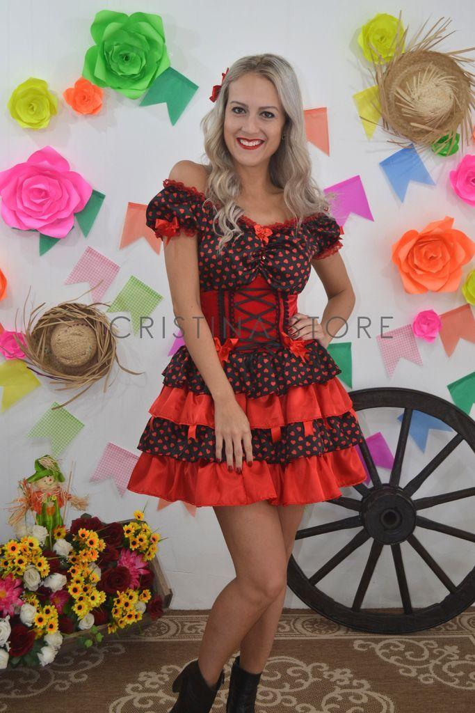 Vestido vermelho xadrez com corpete preto
