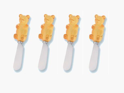 "Yellow Gummy Bear Spreader Set of 4 (Bulk) by Supreme Housewares. $9.60. Dimensions: 5""L. Care and Clean: Hand wash only. Yellow Gummy Bear Spreader Set of 4 (Bulk). Includes: 4 total pieces. Material: Resin Handle, Stainless Steel Blade. These are our best selling items. With so many styles to choose from, who can resist? Select styles are also sold as a set of 4. (Bulk)"