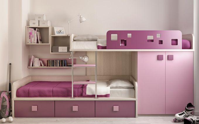 muebles juveniles infantiles escritorio cama alzada biblioteca del espacio