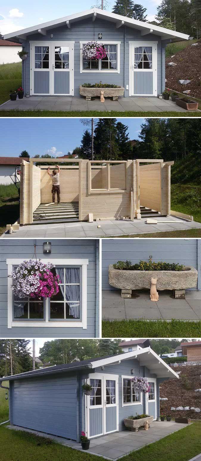 Gartenhaus Nevis 44 Iso Aufbau Und Einrichtung Gartenhaus Grau Gartenhaus Garten