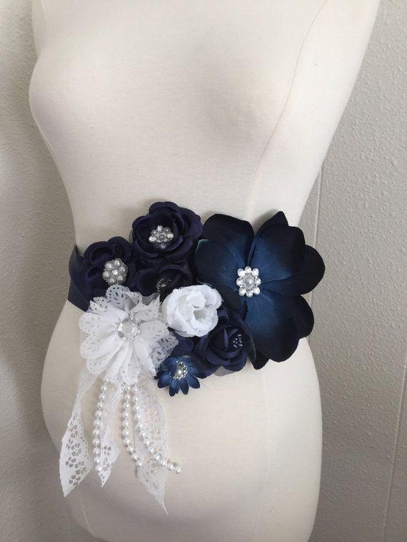 Gorgeous Vintage Navy Blue White Maternity Sash Birdal Sash Baby