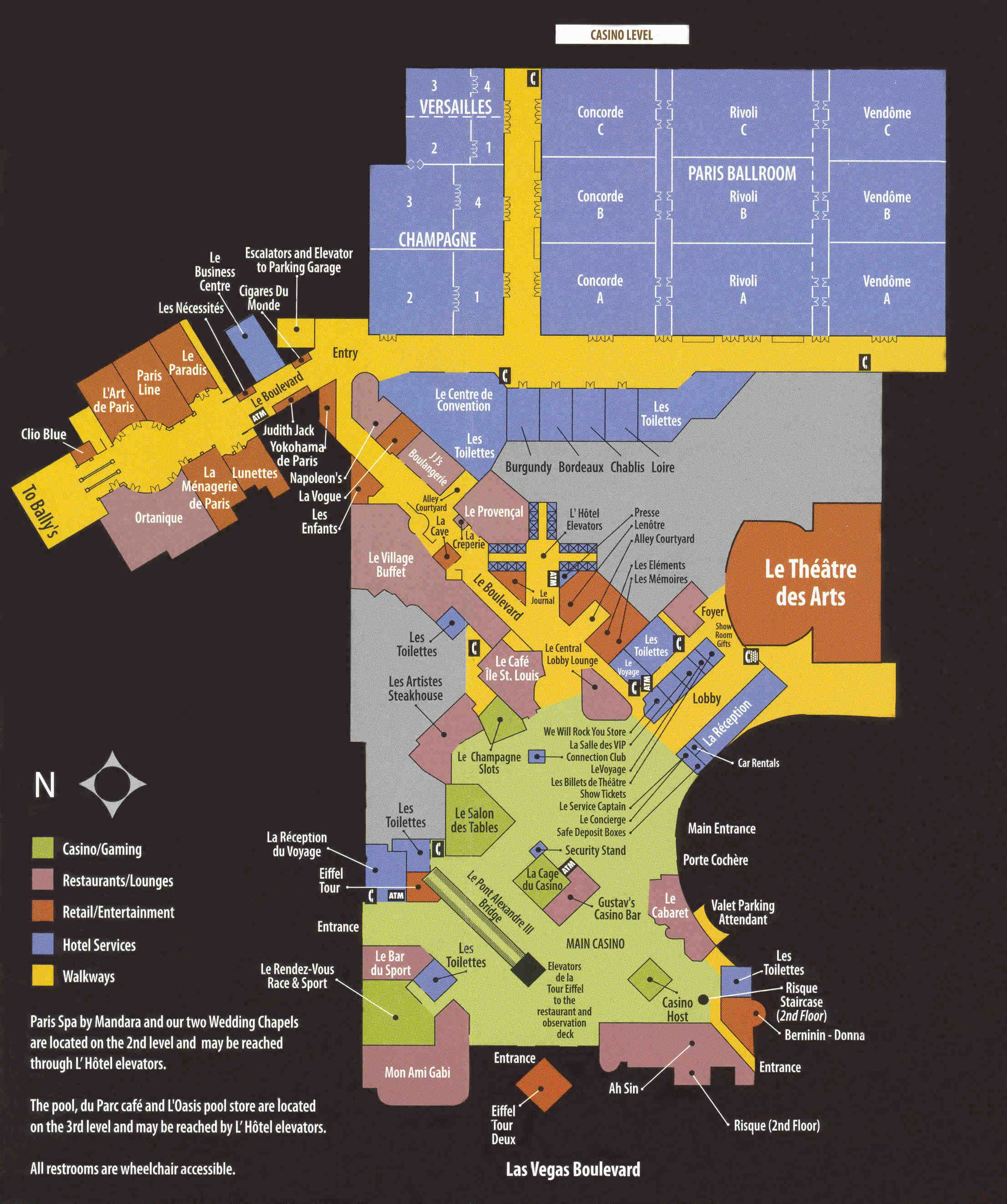 Paris Hotel Map Las Vegas. -res Vegas