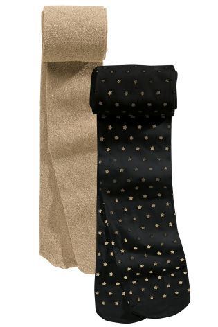 2ece77668c38b Multi Black Star And Gold Metallic Tights Two Pack (3-16yrs) | next ...