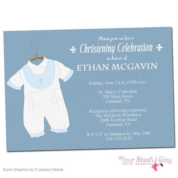 Printable Baby Boy Christening Baptism Party Invitations 601